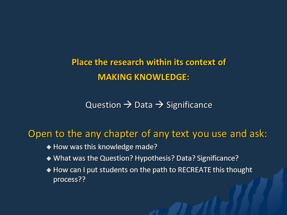Place the research within its context of