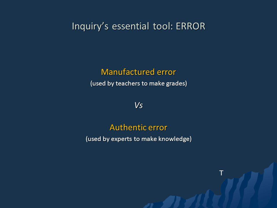 Inquiry's essential tool: ERROR