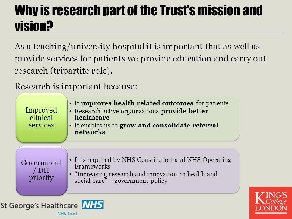 Why is research part of the Trust's mission and vision