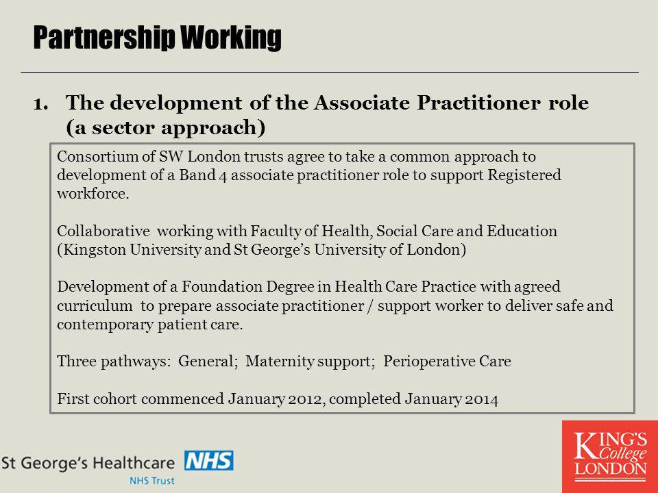 Partnership Working The development of the Associate Practitioner role (a sector approach)