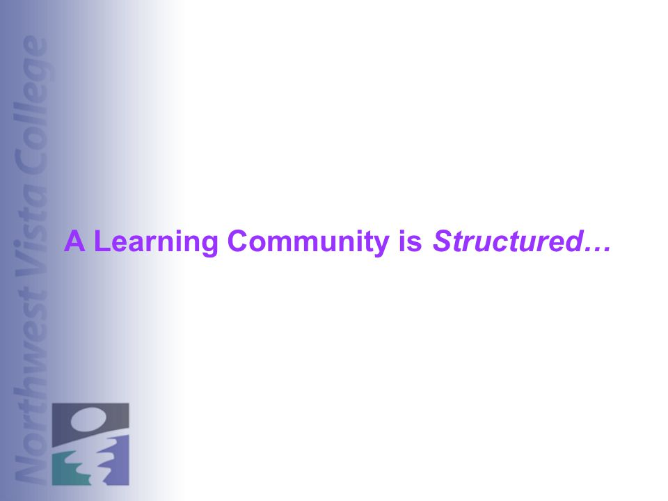 A Learning Community is Structured…