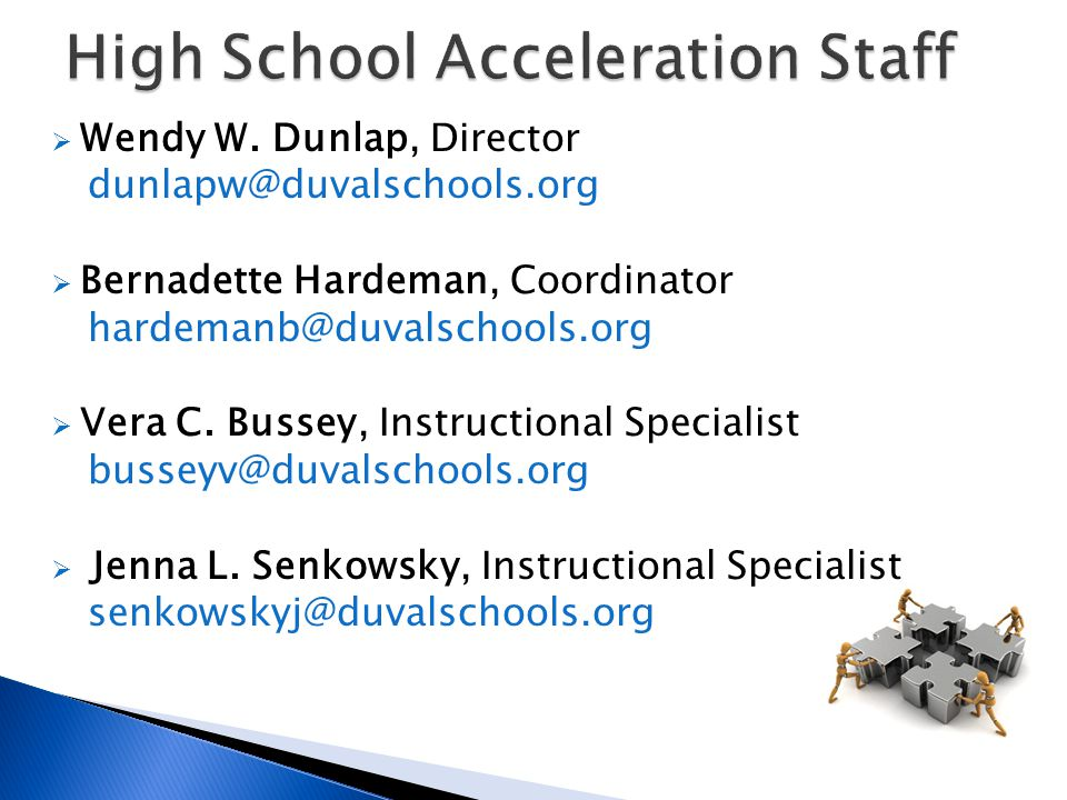 High School Acceleration Staff