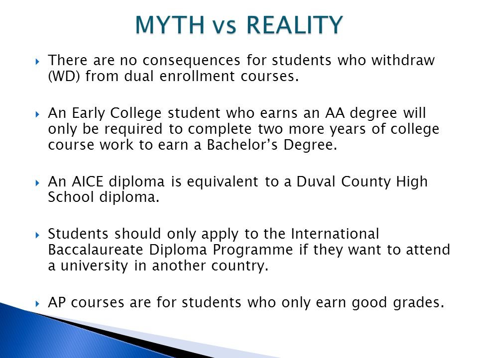 MYTH vs REALITY There are no consequences for students who withdraw (WD) from dual enrollment courses.