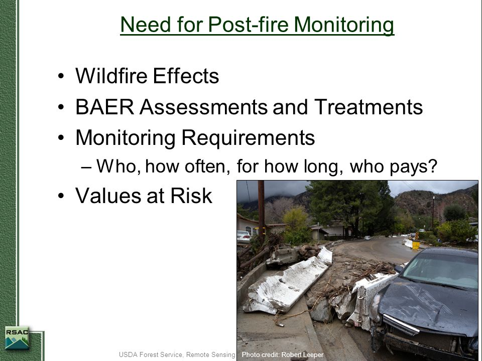 Need for Post-fire Monitoring