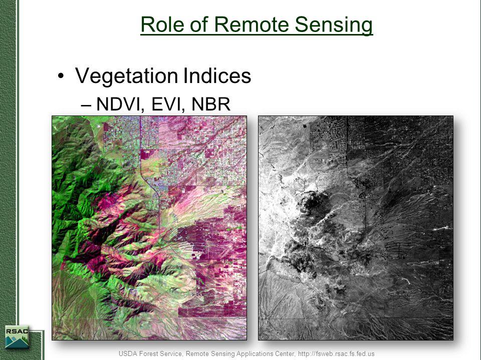 Role of Remote Sensing Vegetation Indices NDVI, EVI, NBR