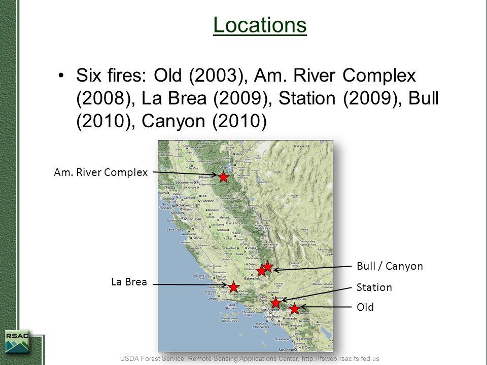 Locations Six fires: Old (2003), Am. River Complex (2008), La Brea (2009), Station (2009), Bull (2010), Canyon (2010)