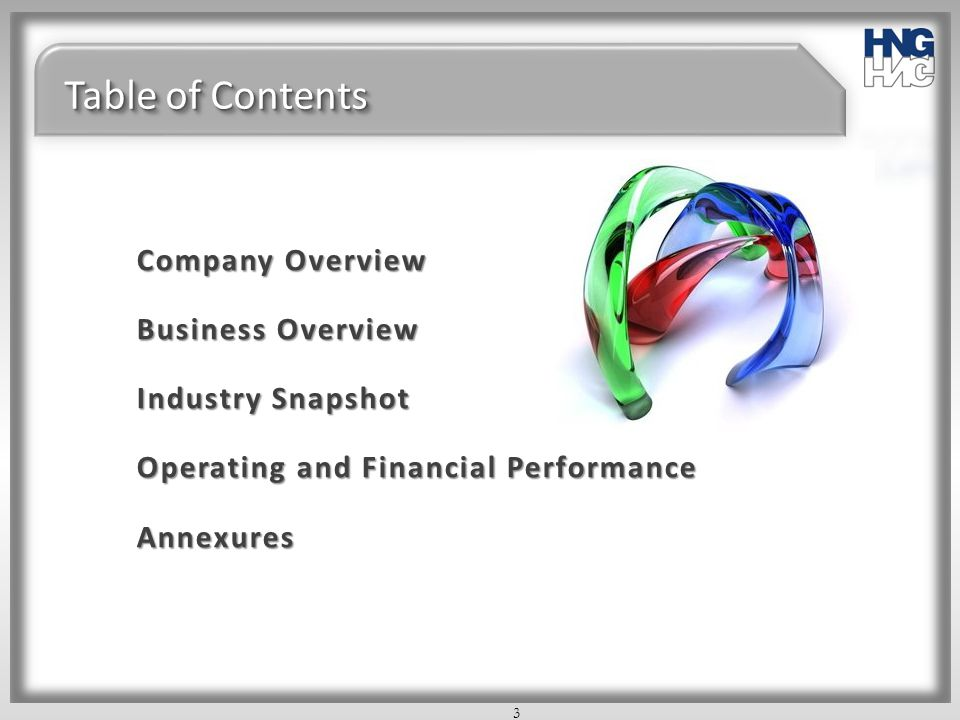 Table of Contents Company Overview Business Overview Industry Snapshot