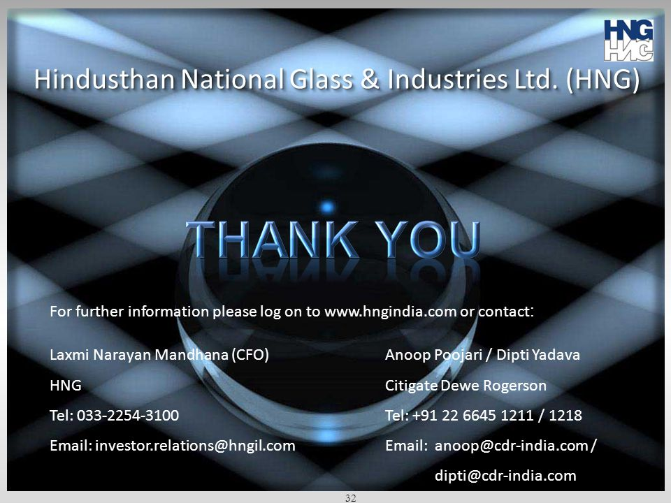 Thank you Hindusthan National Glass & Industries Ltd. (HNG)