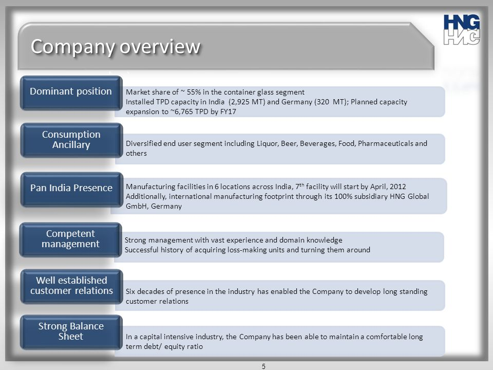 Company overview Dominant position Consumption Ancillary