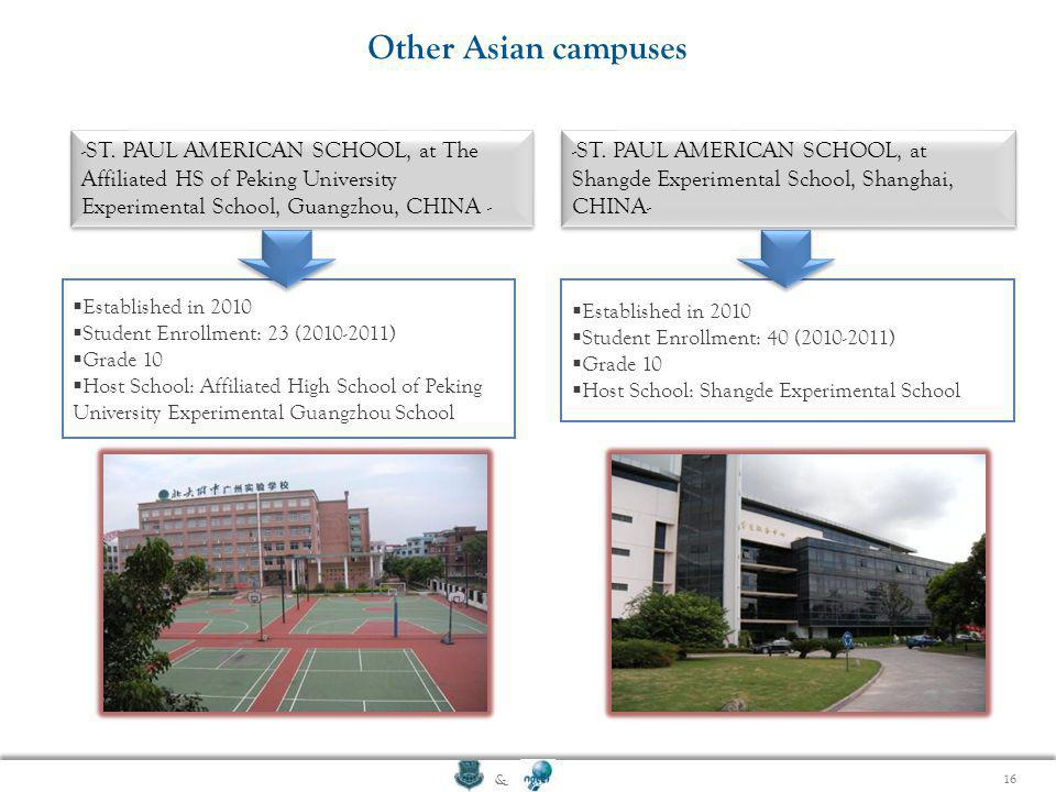 Other Asian campuses -ST. PAUL AMERICAN SCHOOL, at The Affiliated HS of Peking University Experimental School, Guangzhou, CHINA -