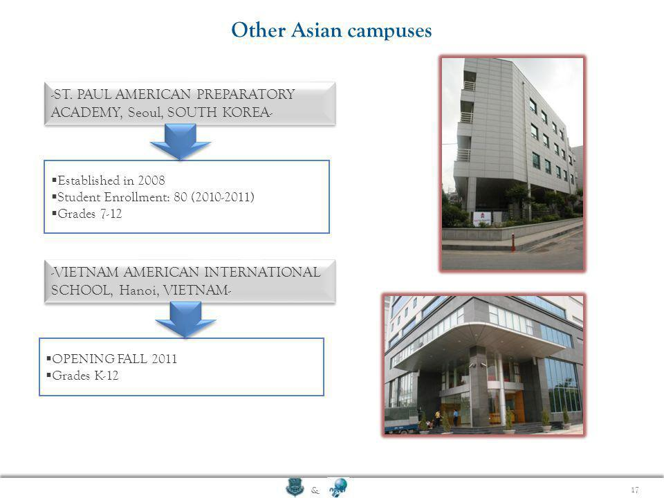 Other Asian campuses -ST. PAUL AMERICAN PREPARATORY ACADEMY, Seoul, SOUTH KOREA- Established in 2008.