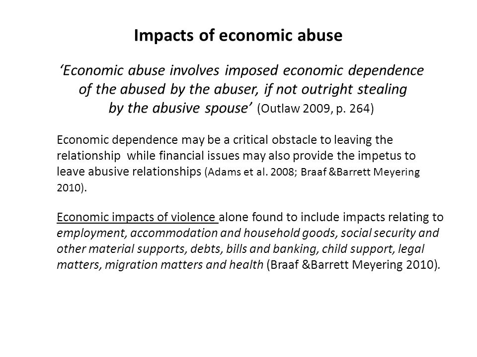 Impacts of economic abuse