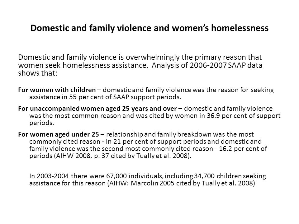 Domestic and family violence and women's homelessness