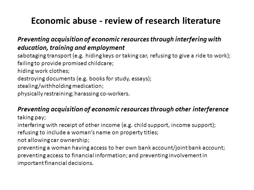 Economic abuse - review of research literature