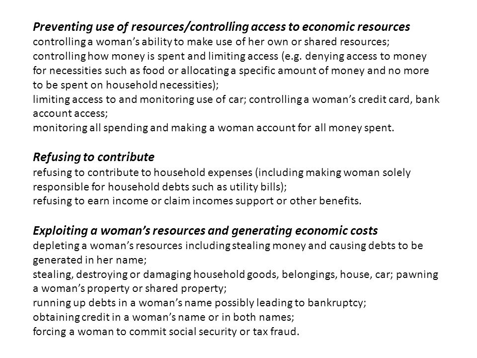 Preventing use of resources/controlling access to economic resources