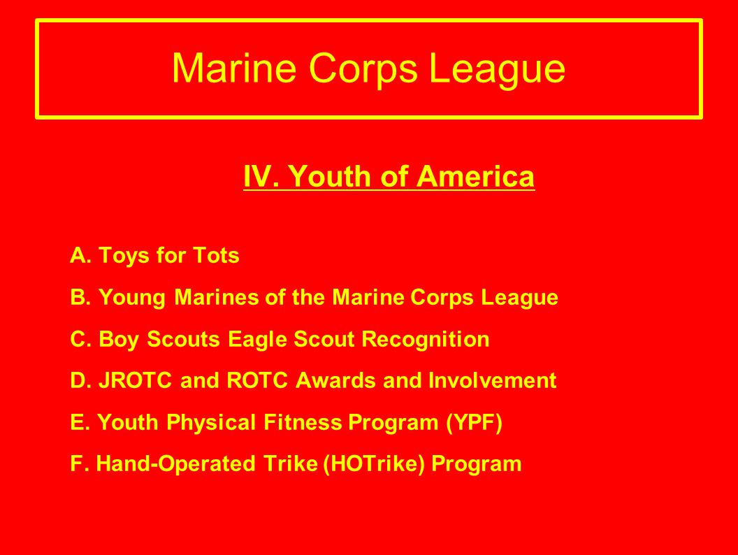 Marine Corps League IV. Youth of America A. Toys for Tots