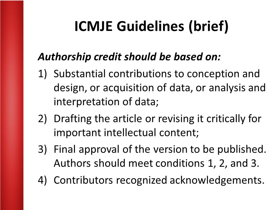 ICMJE Guidelines (brief)