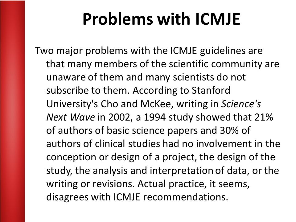 Problems with ICMJE