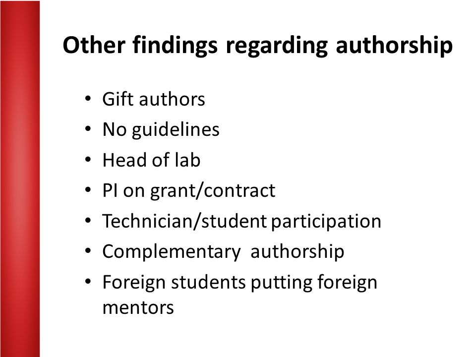 Other findings regarding authorship