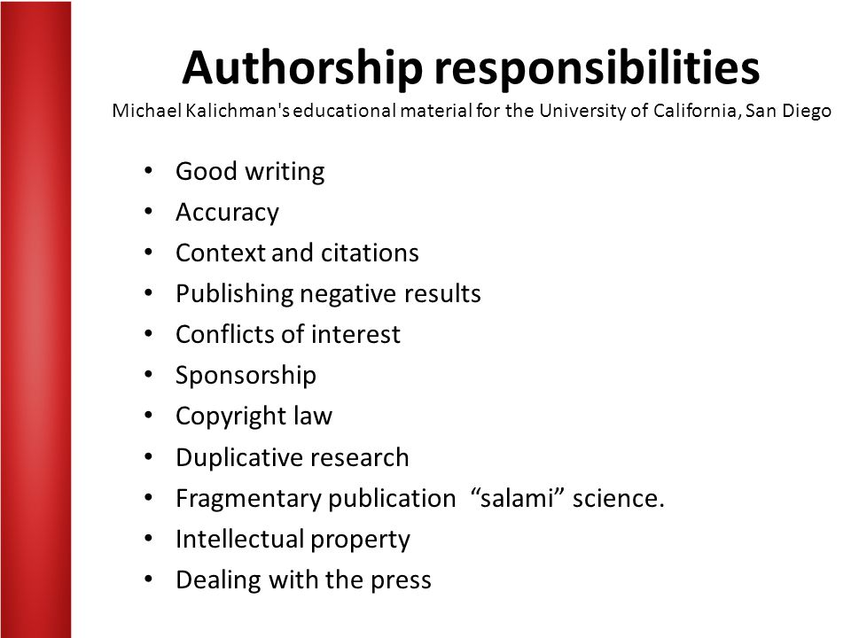 Authorship responsibilities Michael Kalichman s educational material for the University of California, San Diego