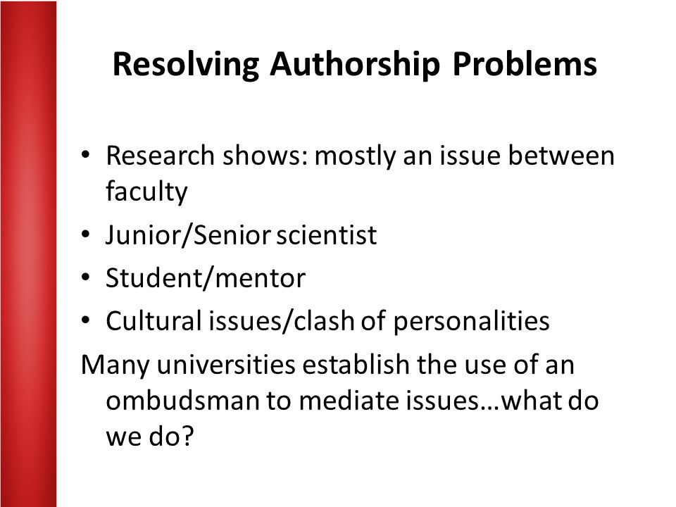 Resolving Authorship Problems
