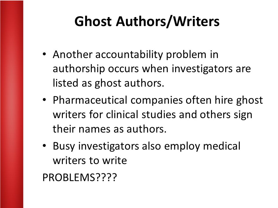 Ghost Authors/Writers