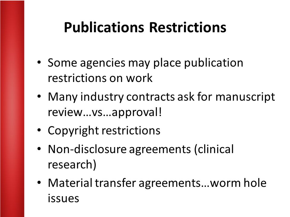 Publications Restrictions
