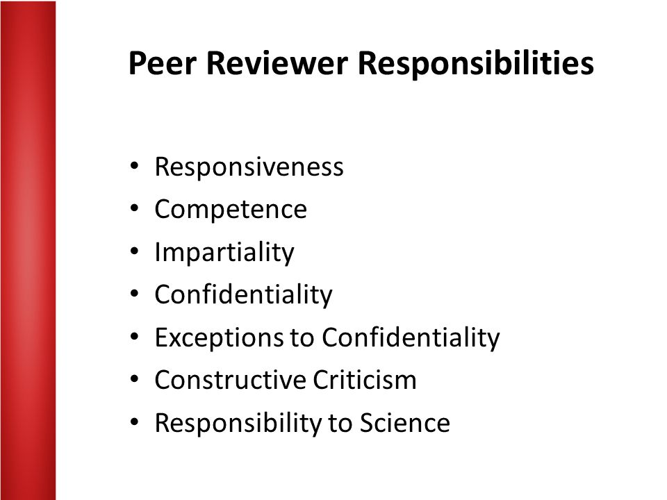 Peer Reviewer Responsibilities