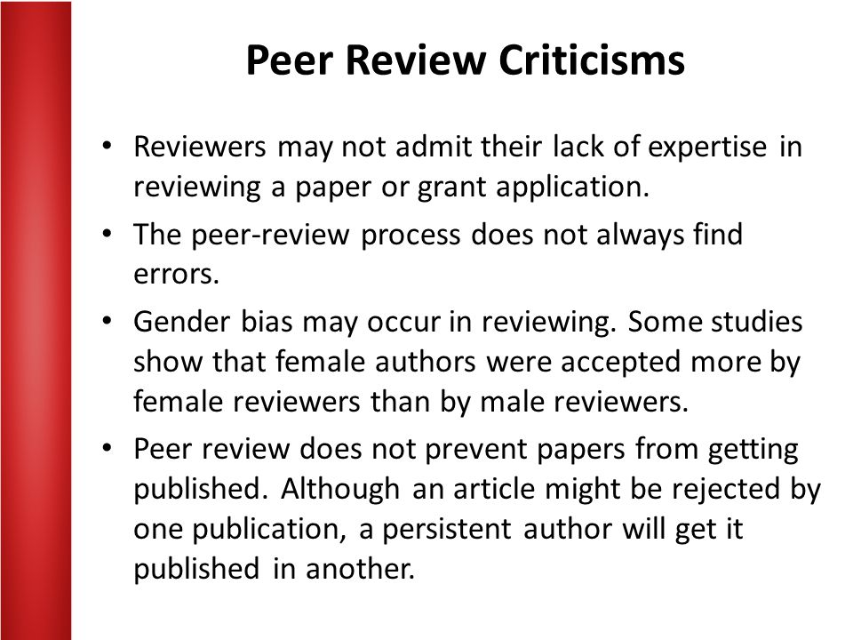 Peer Review Criticisms