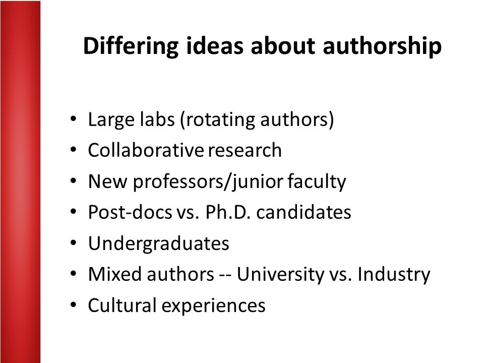 Differing ideas about authorship