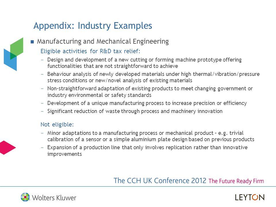 Appendix: Industry Examples