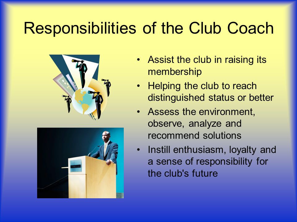 Responsibilities of the Club Coach
