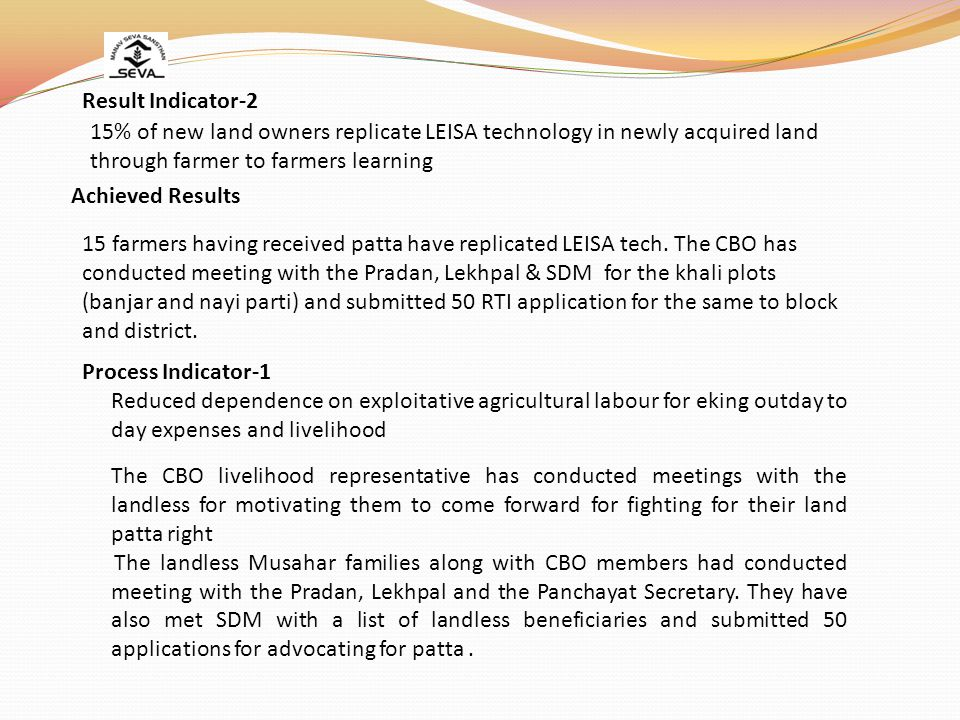 Result Indicator-2 15% of new land owners replicate LEISA technology in newly acquired land. through farmer to farmers learning.