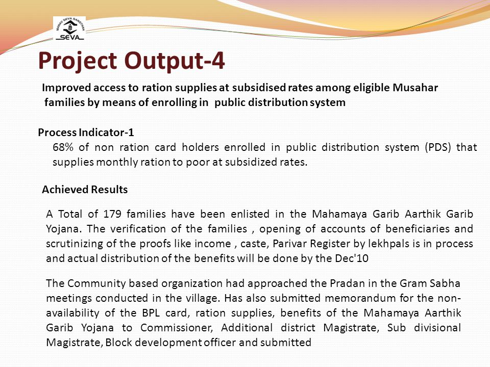 Project Output-4 Improved access to ration supplies at subsidised rates among eligible Musahar.