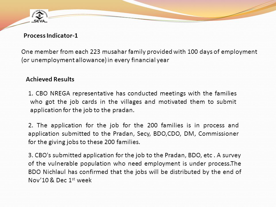 Process Indicator-1 One member from each 223 musahar family provided with 100 days of employment (or unemployment allowance) in every financial year.