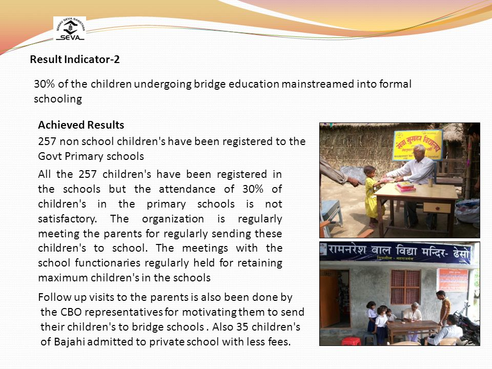 Result Indicator-2 30% of the children undergoing bridge education mainstreamed into formal schooling.