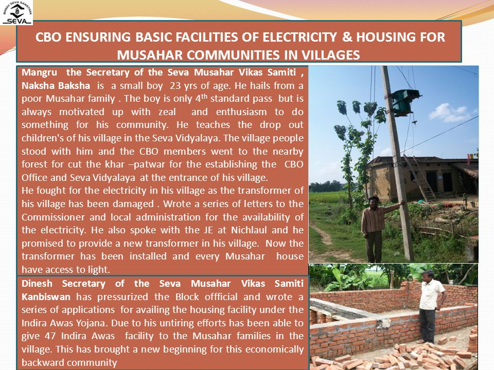 CBO ENSURING BASIC FACILITIES OF ELECTRICITY & HOUSING FOR MUSAHAR COMMUNITIES IN VILLAGES