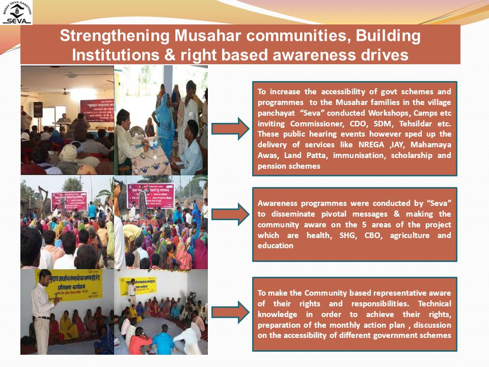 Strengthening Musahar communities, Building Institutions & right based awareness drives