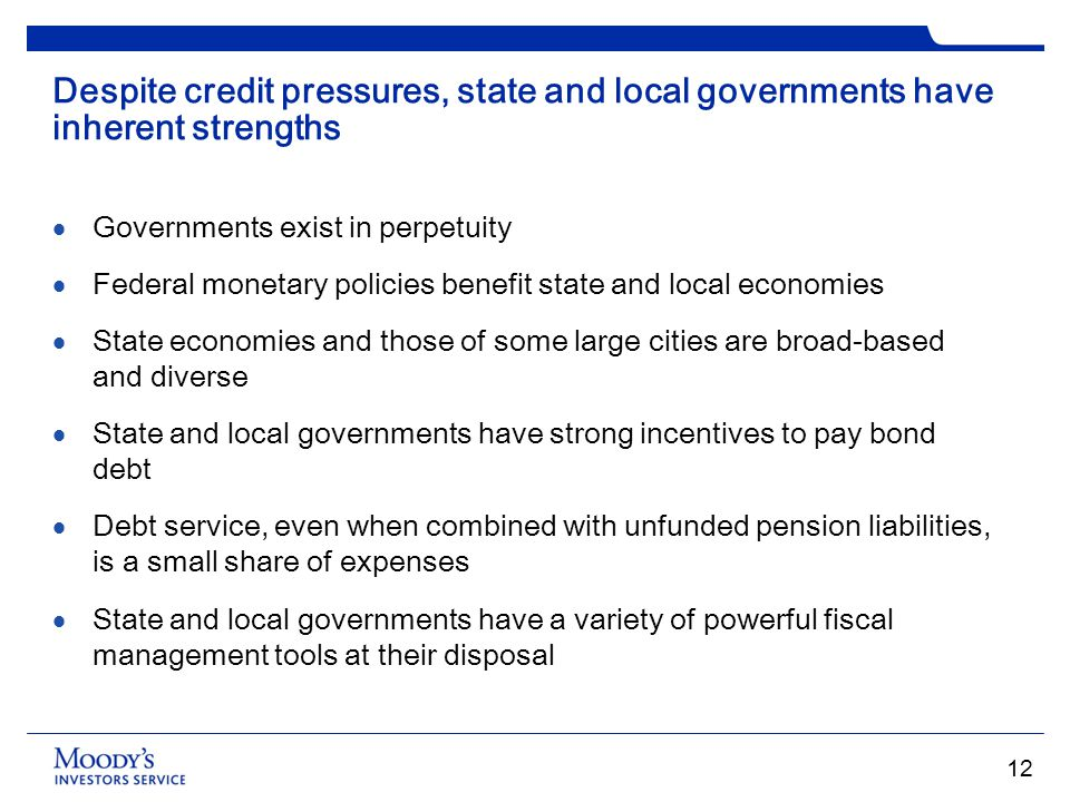 Despite credit pressures, state and local governments have inherent strengths