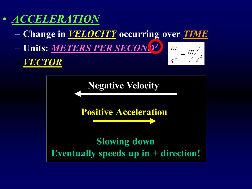 ACCELERATION Change in VELOCITY occurring over TIME