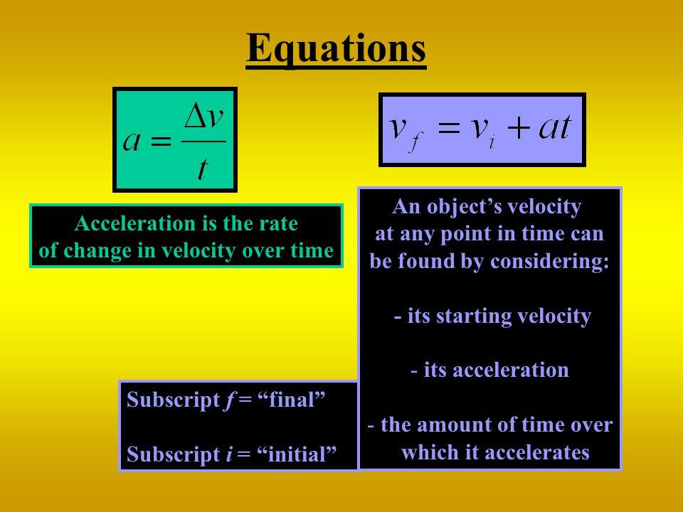 Equations An object's velocity at any point in time can