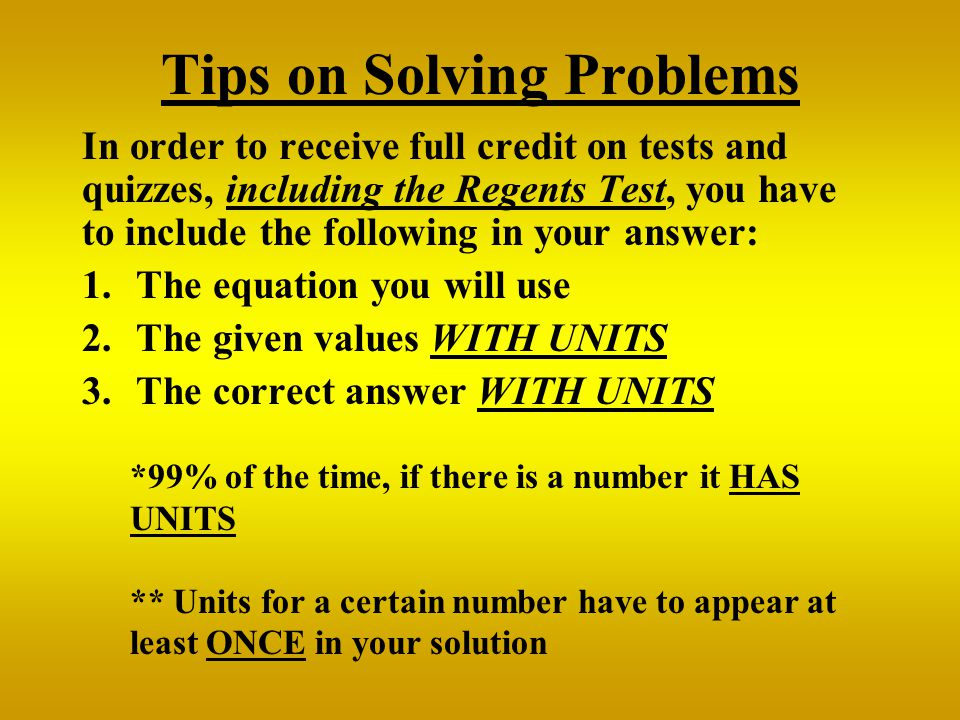 Tips on Solving Problems