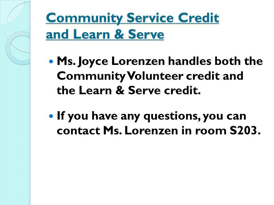 Community Service Credit and Learn & Serve