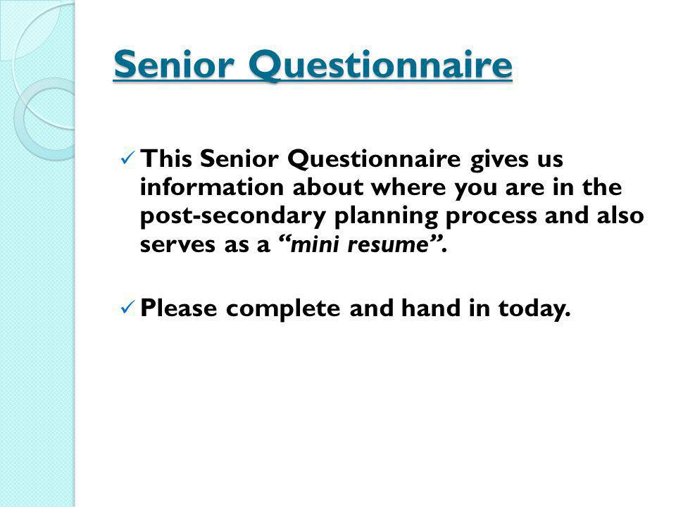 Senior Questionnaire