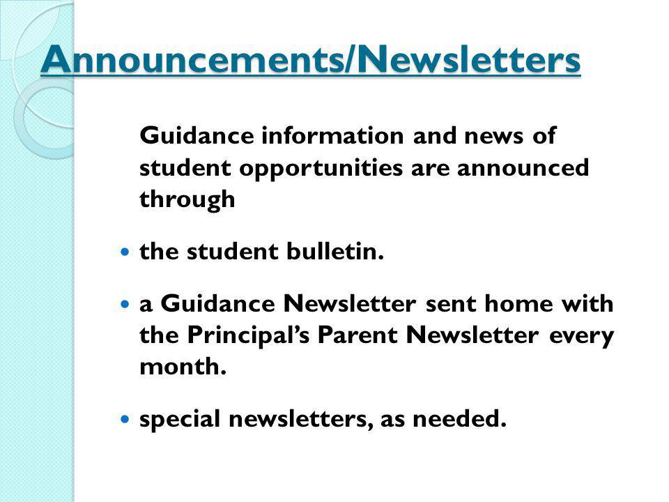 Announcements/Newsletters