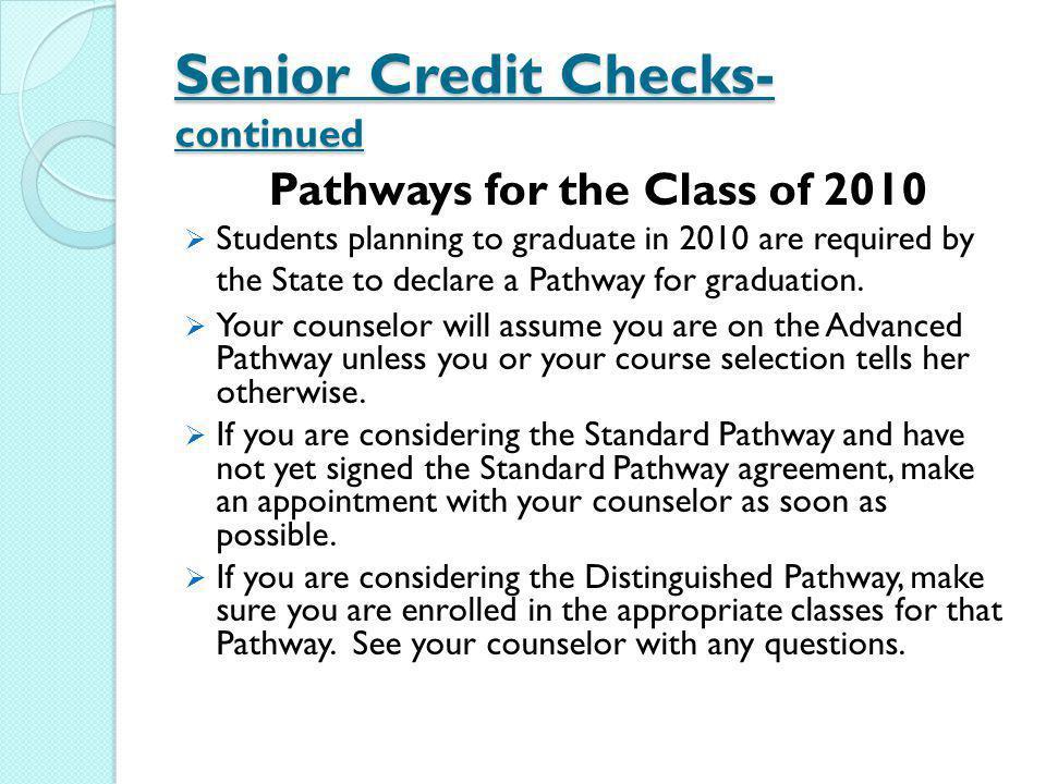 Senior Credit Checks- continued