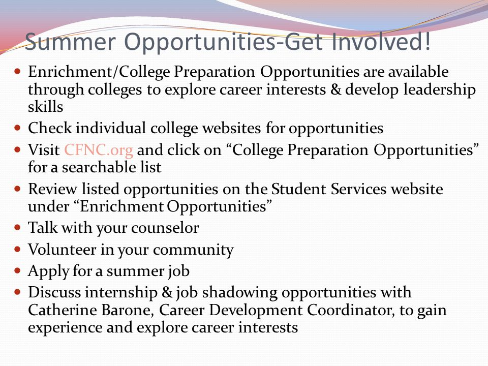 Summer Opportunities-Get Involved!