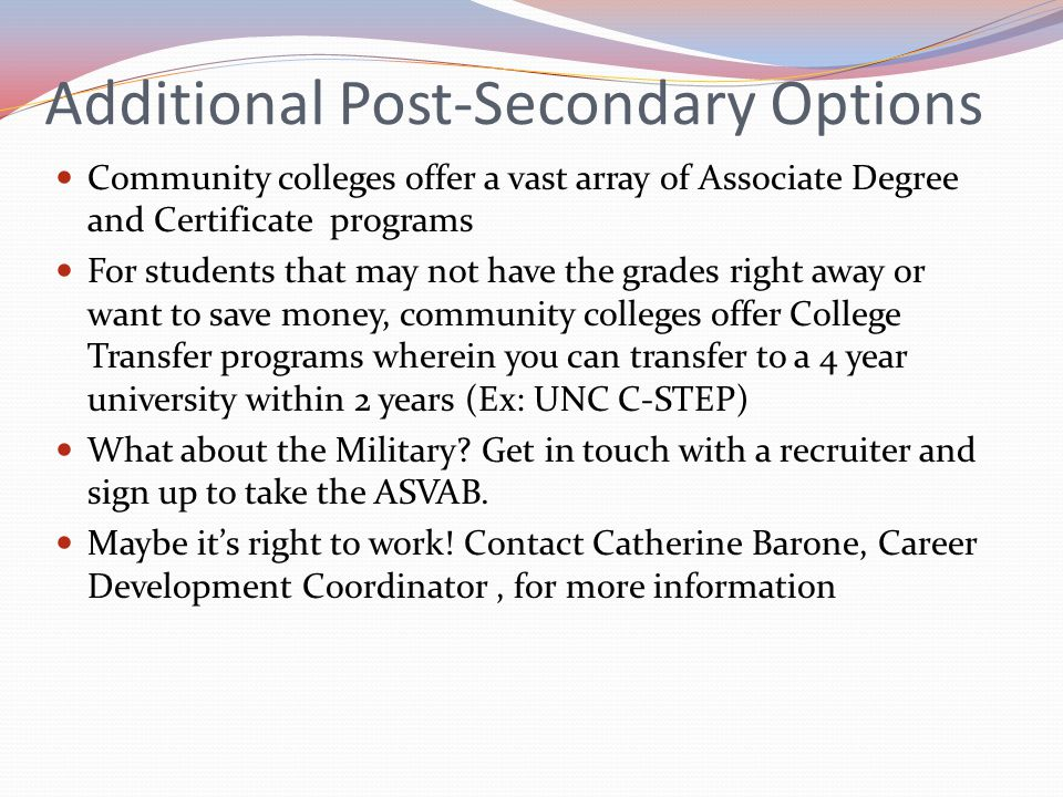 Additional Post-Secondary Options