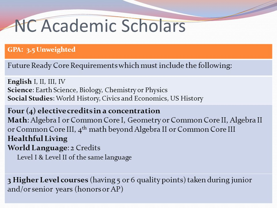 NC Academic Scholars GPA: 3.5 Unweighted. Future Ready Core Requirements which must include the following: