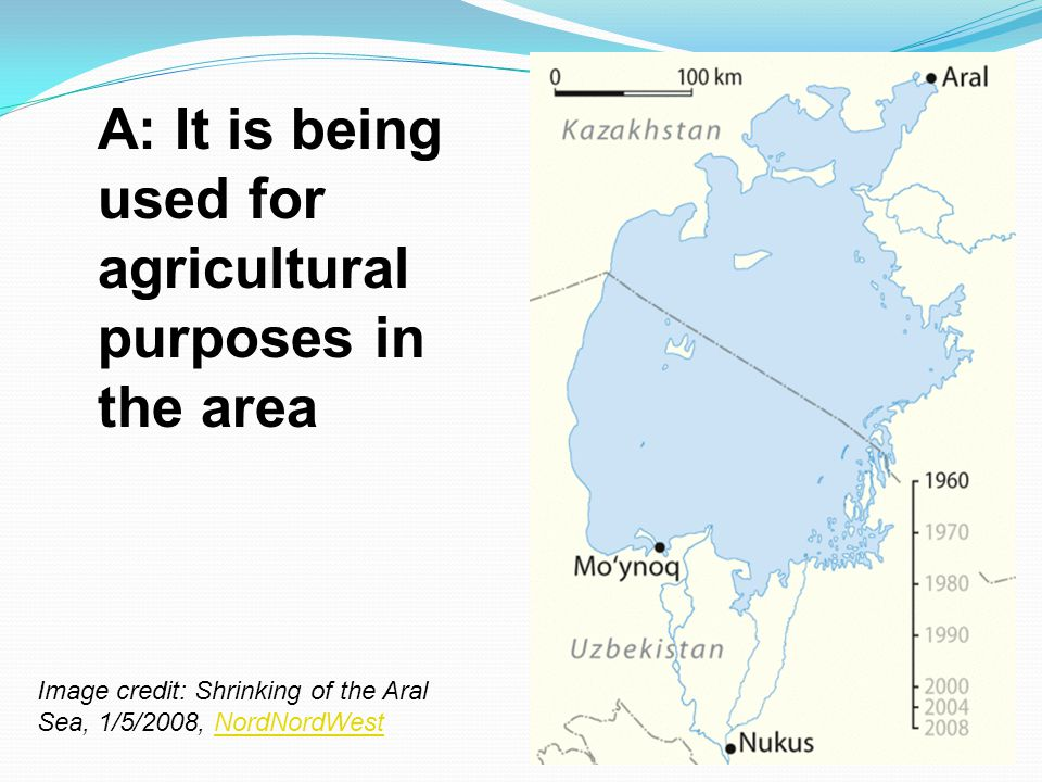 A: It is being used for agricultural purposes in the area